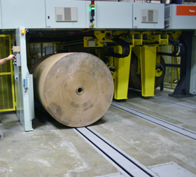 pull dolly track roll paper loading
