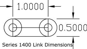 Series 1400 Flat Friction Poly Belt dimensions diagram